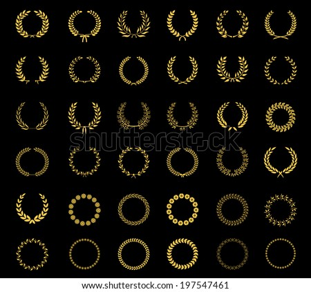Very large set of thirty-six different vector laurel  wheat  floral and foliate wreaths and circular frames for awards  heraldry  antiquity  victory  champion and excellence on black - stock vector