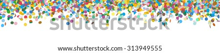 Very Long Horizontal Vector Panorama Banner with Raining Confetti and Free Space for Design Elements at the Bottom - Dots, Points, Deco, Polka Dots - Backdrop Falling Particle Design - Website Head