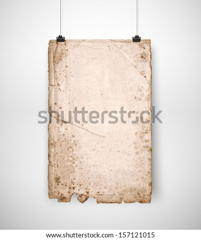 Very old paper hanging vector poster - stock vector