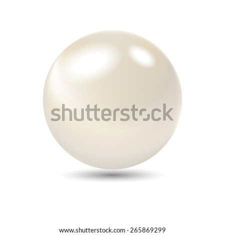 Very realistic shiny pearl. Vector Gradient mesh used.  - stock vector