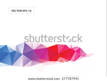 Very saturated rainbow abstract triangle low poly vector , polygonal geometric background, business template, or border element - stock vector