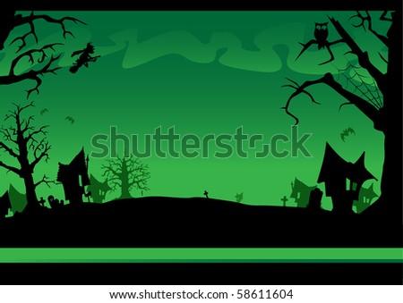 Very spooky Halloween background - stock vector