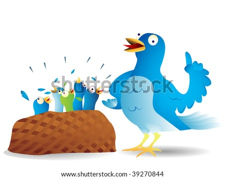 Very talkative blue bird giving a speech to its hungry kids. - stock vector
