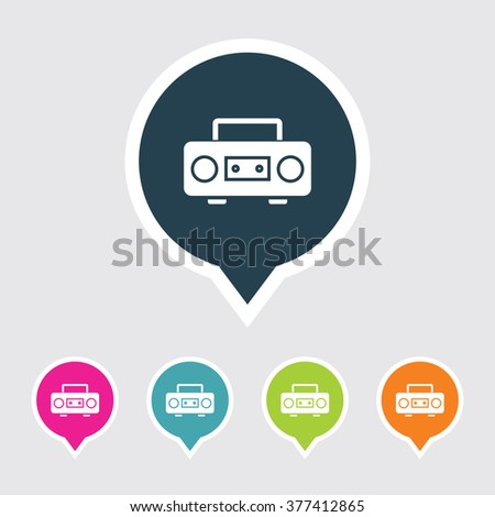 Very Useful Editable Cassette Player or tape recorder Icon on Different Colored Pointer Shape. Eps-10. - stock vector