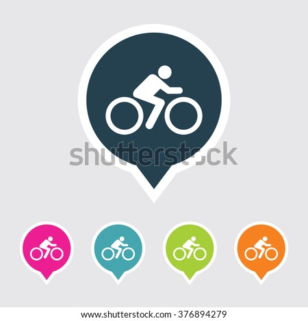 Very Useful Editable Cyclist Icon on Different Colored Pointer Shape. Eps-10. - stock vector