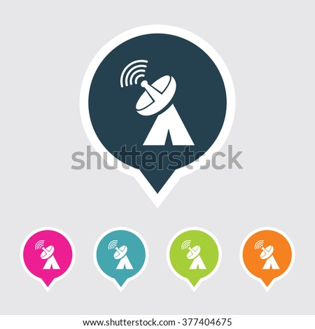 Very Useful Editable Dish Antenna Icon on Different Colored Pointer Shape. Eps-10. - stock vector