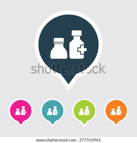 Very Useful Editable Drugs Bottle Icon on Different Colored Pointer Shape. Eps-10. - stock vector
