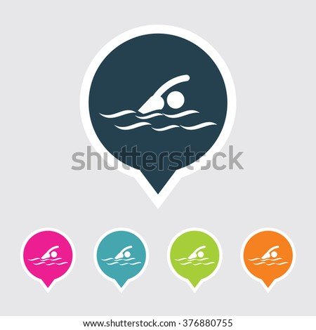 Very Useful Editable Swimmer Icon on Different Colored Pointer Shape. Eps-10. - stock vector