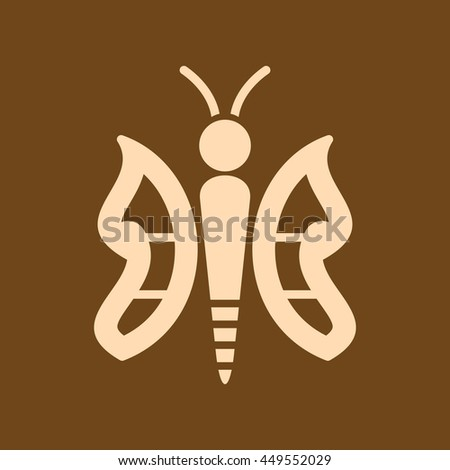 Very Useful Editable Vector icon of Butterfly on coffee color background. eps-10.