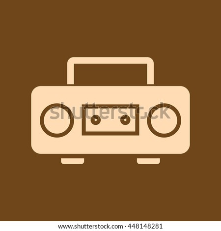 Very Useful Editable Vector icon of Cassette Player on coffee color background. eps-10. - stock vector
