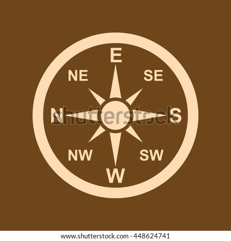 Very Useful Editable Vector icon of Direction Compass on coffee color background. eps-10.