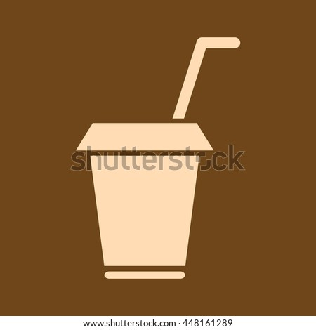 Very Useful Editable Vector icon of Drink Cup on coffee color background. eps-10.