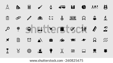 very useful education icon set - stock vector