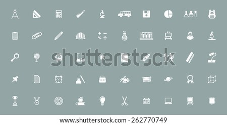 Very Useful educational Icon Set On Flat UI Color Background. Eps-10. - stock vector