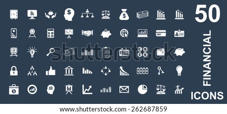 Very Useful Financial Icon Set On Flat UI Color Background. Eps-10. - stock vector