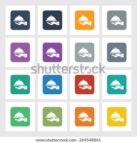 Very Useful Flat Icon of Food Serving with Different UI Colors. Eps-10. - stock vector