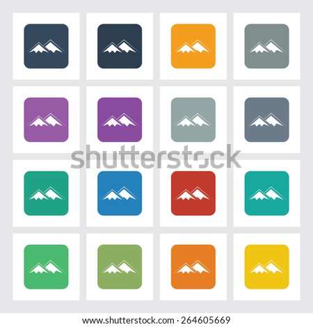 Very Useful Flat Icon of Mountains with Different UI Colors. Eps-10. - stock vector