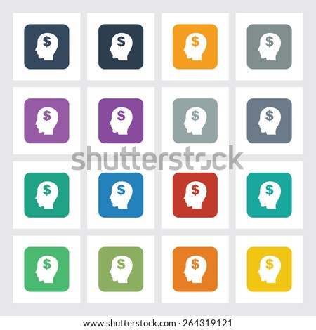 Very Useful Flat Icon of Think Money with Different UI Colors. Eps-10. - stock vector