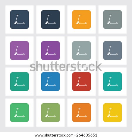 Very Useful Flat Icon of Toy Scooter with Different UI Colors. Eps-10. - stock vector