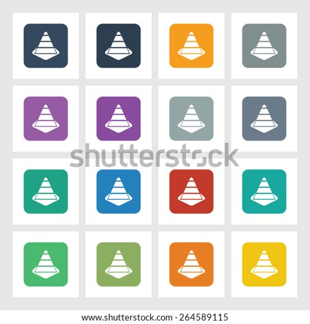 Very Useful Flat Icon of Traffic Cone with Different UI Colors. Eps-10. - stock vector