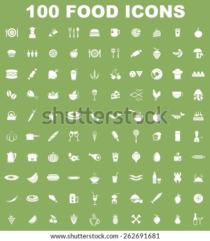 Very Useful Food Icon Set On Flat UI Color Background. Eps-10. - stock vector