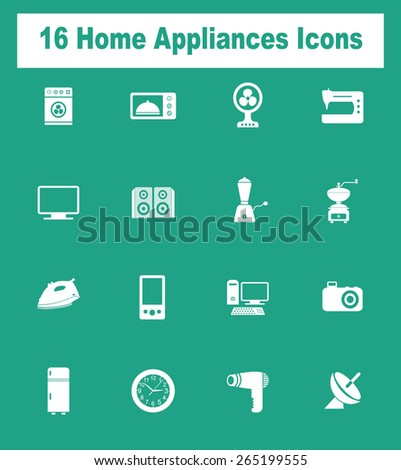 Very Useful Home Appliances Icon Set On Flat UI Color Background. Eps-10.