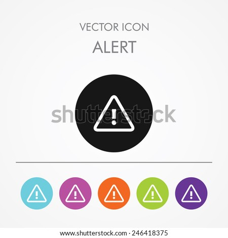 Very Useful Icon of Alert On Multicolored Flat Buttons - stock vector
