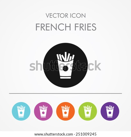 Very Useful Icon of French fries on Multicolored Round Buttons. - stock vector