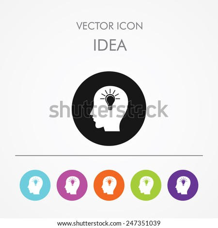 Very Useful Icon of idea On Multicolored Flat Round Buttons. - stock vector