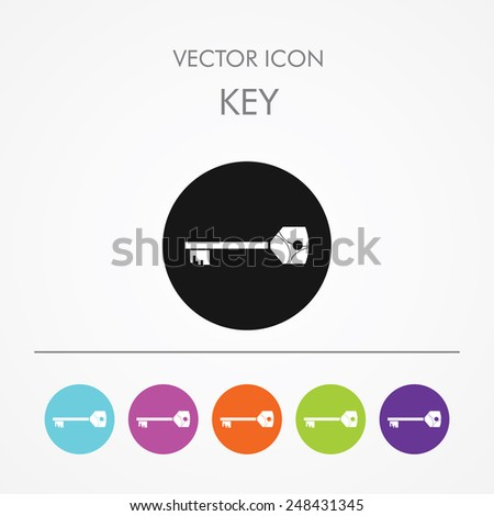 Very Useful Icon of key on Multicolored Round Buttons. - stock vector