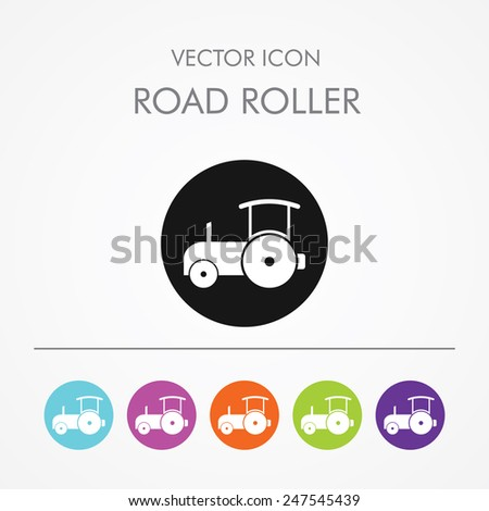 Very Useful Icon of Road Roller On Multicolored Flat Round Buttons. - stock vector