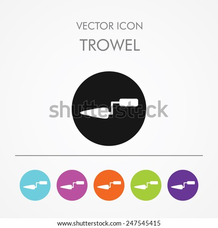 Very Useful Icon of Trowel On Multicolored Flat Round Buttons. - stock vector