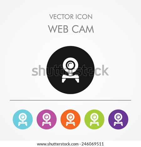 Very Useful Icon of Web Camera on Multicolored Round Buttons. Web Cam. - stock vector