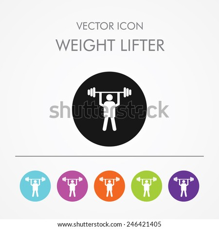Very Useful Icon of weight lifter On Multicolored Flat Buttons - stock vector