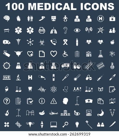 Very Useful medical Icon Set On Flat UI Color Background. Eps-10. - stock vector