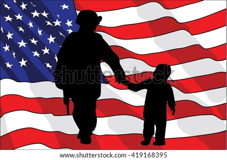 Veterans Day. An American soldier and a child. American flag. vector illustration - stock vector