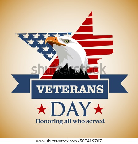 Veterans Day Honoring All Who Served Stock Vector 507419707