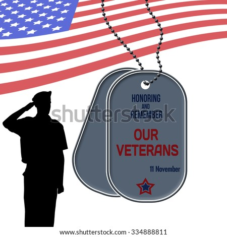 Veterans Day poster with US Army soldier saluting the american flag and dog tags - stock vector