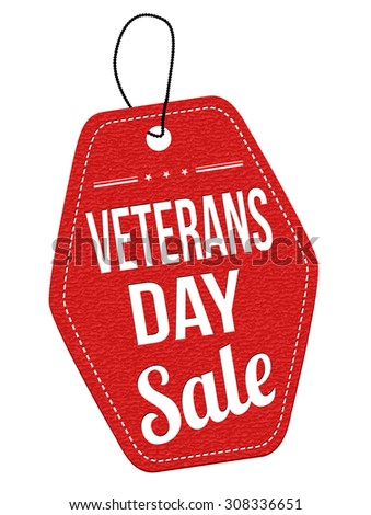 Veterans Day Sale red leather label or price tag on white background, vector illustration - stock vector