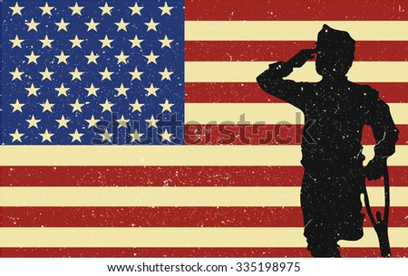 Veterans Day. Usa soldier. American scratched flag - stock vector