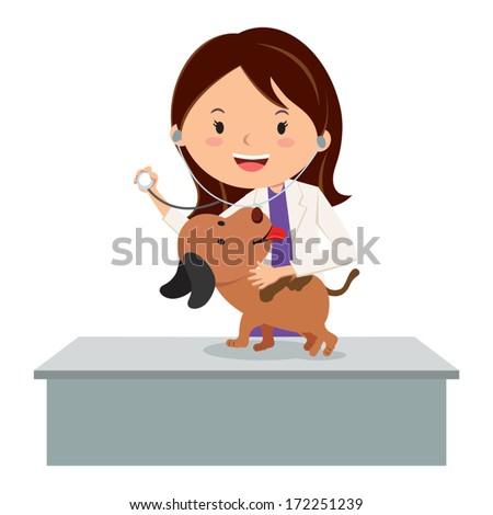 Veterinarian. Vector illustration of a veterinarian examining a puppy. - stock vector