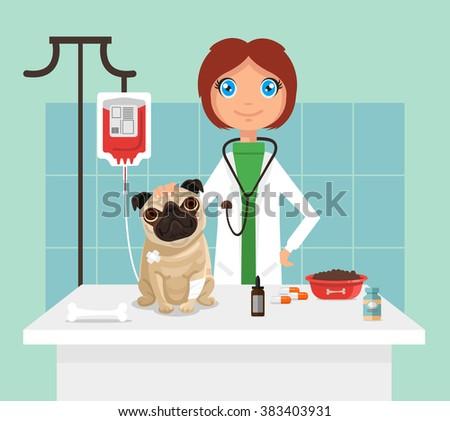 Veterinarian. Vetor flat illustration - stock vector