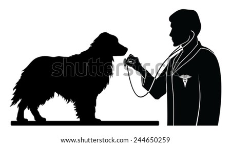 Veterinarian With Dog is an illustration of a design for a vet or veterinarian. Includes images of a dog, a veterinarian with stethoscope and a veterinarian symbol - stock vector