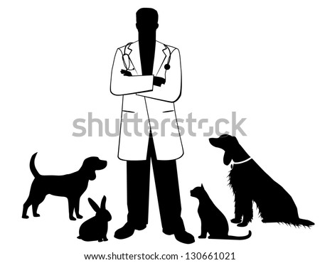 Veterinarian with pets. EPS 8 vector, no open shapes or paths. Grouped for easy editing. - stock vector