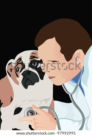 veterinarian with stethoscope and dog, veterinarian examining dog and listening with stethoscope during checkup, vector illustration