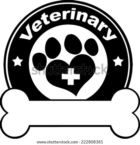 Veterinary Black Circle Label Design With Love Paw Print,Cross And Bone Under Text. Vector Illustration Isolated on white - stock vector