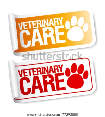 Veterinary care stickers set. - stock vector