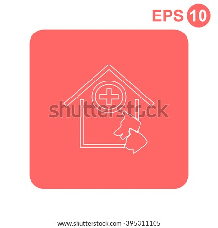 Veterinary Clinic With A Picture Of Dog And Cat Muzzle Vector Icon