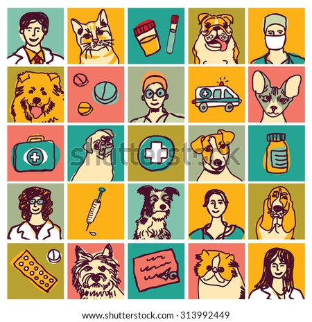 Veterinary doctors pets icons and objects set. Set of veterinary icons, objects and doctors. Color vector illustration. EPS8 - stock vector