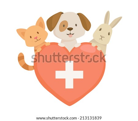 Veterinary heart  emblem with cat,dog and rabbit characters. vector illustration - stock vector